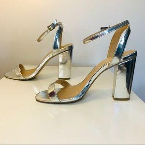 ASOS Ankle Strap Block Heel- Silver
